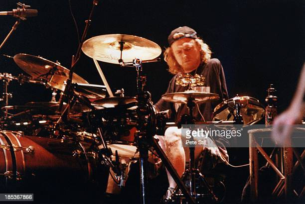 Rick Allen of Def Leppard performs on stage at the Birmingham NEC on October 16th 1996 in Birmingham England