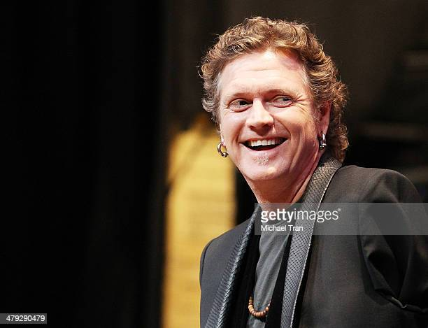 Rick Allen of Def Leppard speaks onstage during the KISS and Def Leppard announcment of their 2014 Summer tour held at The House of Blues on Sunset...