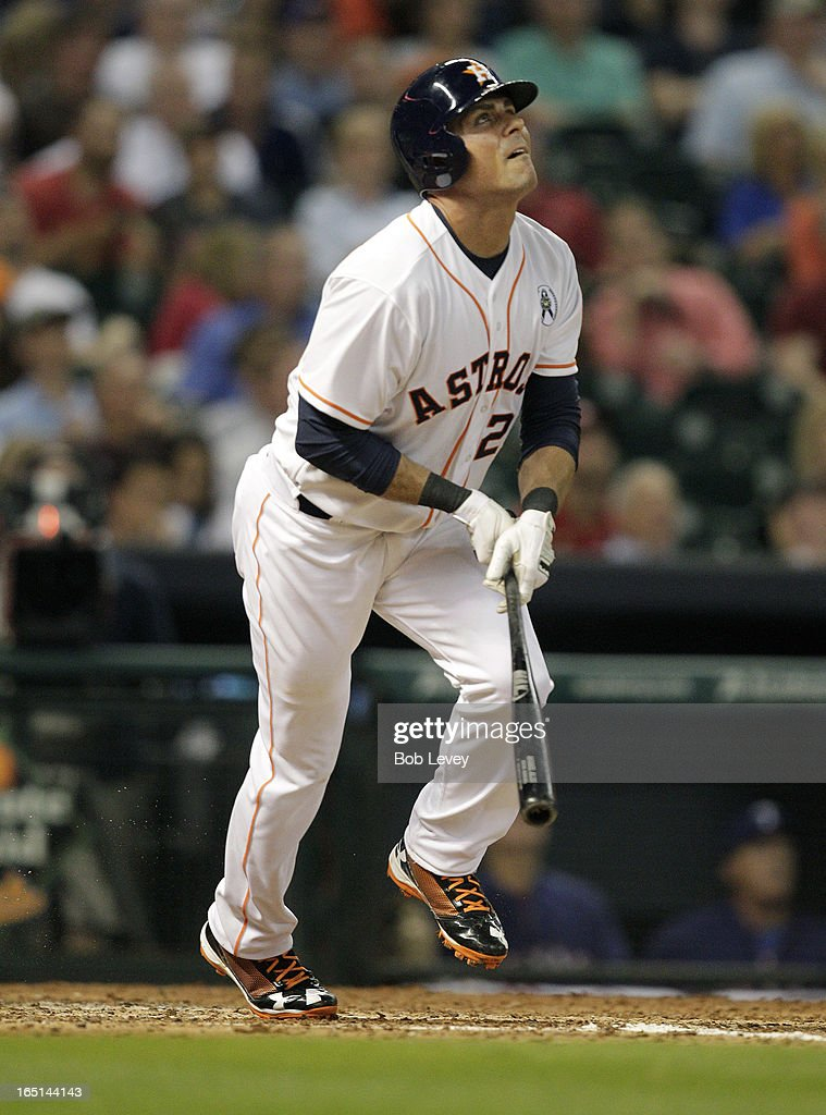 <a gi-track='captionPersonalityLinkClicked' href=/galleries/search?phrase=Rick+Ankiel&family=editorial&specificpeople=803371 ng-click='$event.stopPropagation()'>Rick Ankiel</a> #28 of he Houston Astros watches as he hits a three run home run in the sixth inning against the Texas Rangers on Opening Day at Minute Maid Park on March 31, 2013 in Houston, Texas.