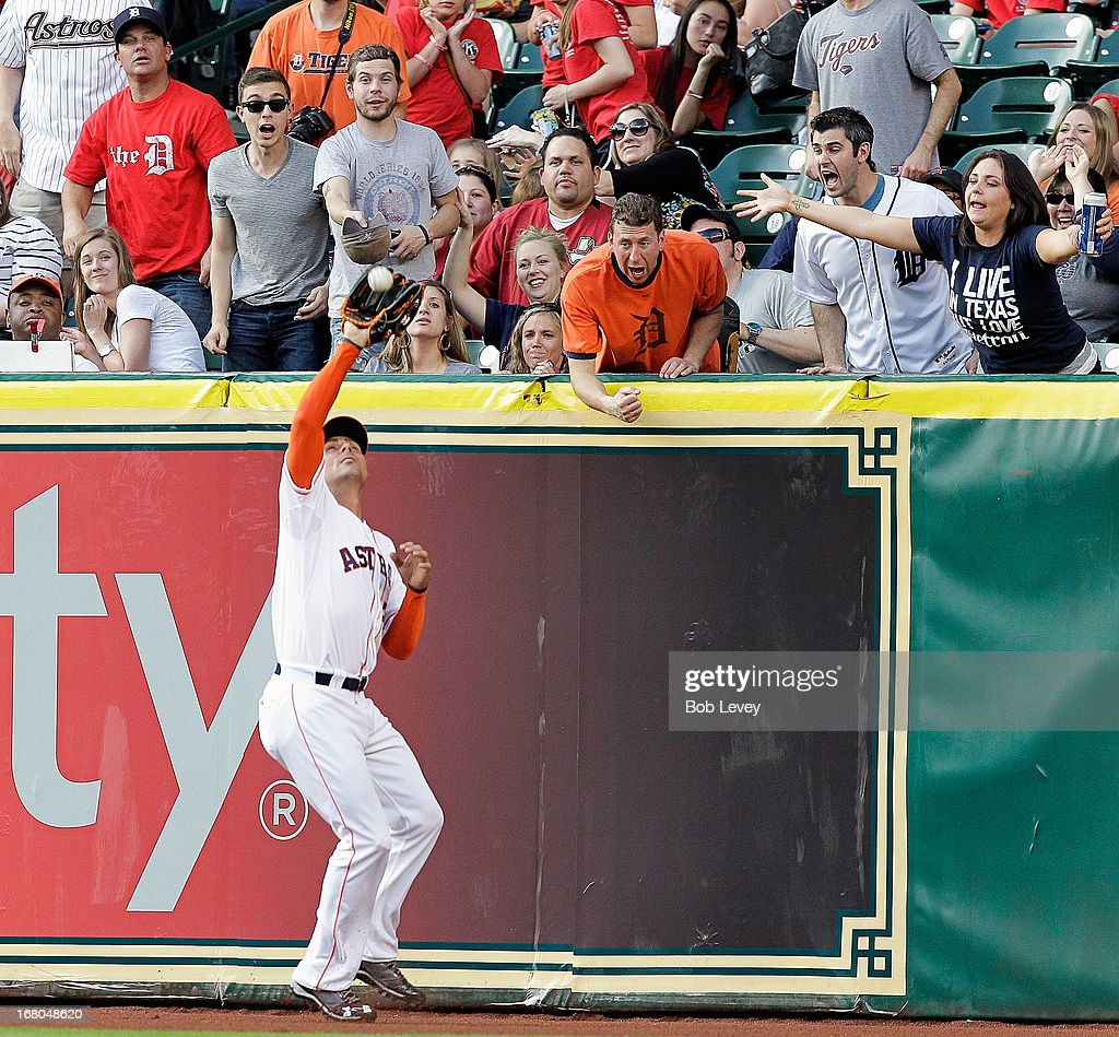 <a gi-track='captionPersonalityLinkClicked' href=/galleries/search?phrase=Rick+Ankiel&family=editorial&specificpeople=803371 ng-click='$event.stopPropagation()'>Rick Ankiel</a> #28 of the Houston Astros makes a catch at the wall off the bat of Jhonny Peralta #27 of the Detroit Tigers in the fifth inning at Minute Maid Park on May 4, 2013 in Houston, Texas.