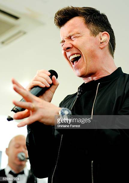 Rick Astley performs live and signs copies of his new album '50' at HMV on June 10 2016 in Manchester England