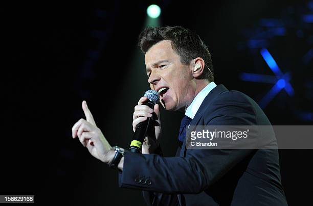 Rick Astley performs on stage at the Hit Factory Live Christmas Cracker at 02 Arena on December 21 2012 in London England