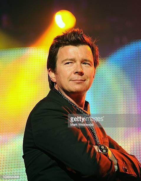 Rick Astley performs on stage during the second day of 80's Rewind Festival at Temple Island Meadows on August 21 2010 in HenleyonThames England