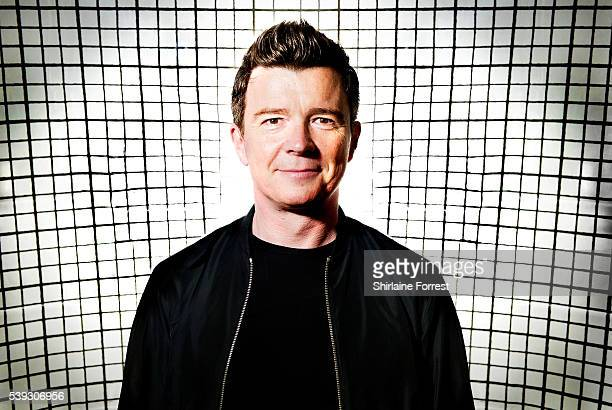Rick Astley poses backstage before performing live and signing copies of his new album '50' at HMV on June 10 2016 in Manchester England