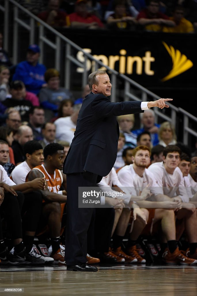 <a gi-track='captionPersonalityLinkClicked' href=/galleries/search?phrase=Rick+Barnes&family=editorial&specificpeople=728815 ng-click='$event.stopPropagation()'>Rick Barnes</a> head coach of the Texas Longhorns reacts in a game against the Iowa State Cyclones during the quarterfinal round of the Big 12 basketball tournament at Sprint Center on March 12, 2015 in Kansas City, Missouri.