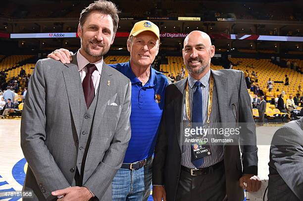 Rick Barry with his sons Brent Barry and Jon Barry pose before the game between the Cleveland Cavaliers and Golden State Warriors during Game Five of...