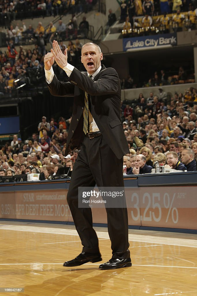 Rick Carlisle of the Dallas Mavericks calls a time out during the game against the Indiana Pacers on November 16, 2012 at Bankers Life Fieldhouse in Indianapolis, Indiana.