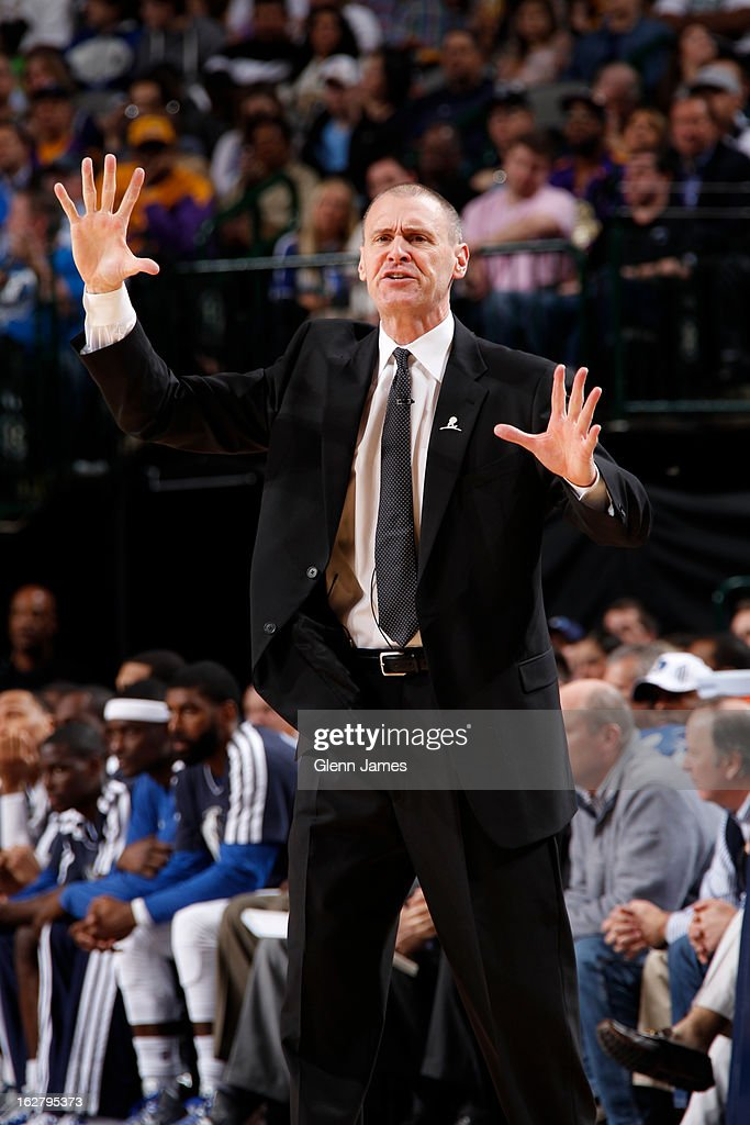 <a gi-track='captionPersonalityLinkClicked' href=/galleries/search?phrase=Rick+Carlisle&family=editorial&specificpeople=206971 ng-click='$event.stopPropagation()'>Rick Carlisle</a> of the Dallas Mavericks calls plays from the bench during the game against the Los Angeles Lakers on February 24, 2013 at the American Airlines Center in Dallas, Texas.