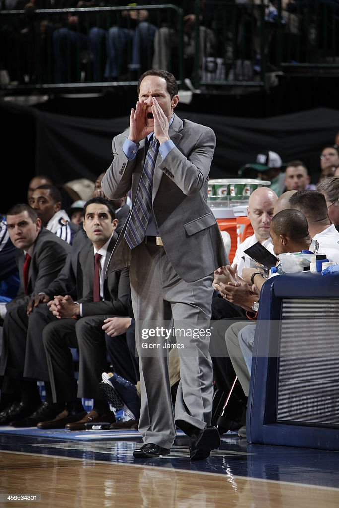 <a gi-track='captionPersonalityLinkClicked' href=/galleries/search?phrase=Rick+Carlisle&family=editorial&specificpeople=206971 ng-click='$event.stopPropagation()'>Rick Carlisle</a> of the Dallas Mavericks coaches against the Milwaukee Bucks on December 14, 2013 at the American Airlines Center in Dallas, Texas.