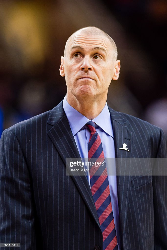 Rick Carlisle of the Dallas Mavericks reacts during a timeout during the first half of a preseason game against the Cleveland Cavaliers at Quicken Loans Arena on October 19, 2015 in Cleveland, Ohio.