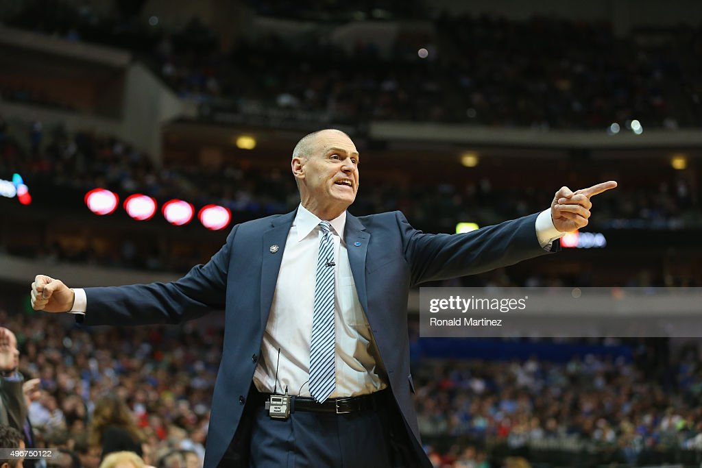 <a gi-track='captionPersonalityLinkClicked' href=/galleries/search?phrase=Rick+Carlisle&family=editorial&specificpeople=206971 ng-click='$event.stopPropagation()'>Rick Carlisle</a> of the Dallas Mavericks reacts during play against the Los Angeles Clippers in the second half at American Airlines Center on November 11, 2015 in Dallas, Texas.
