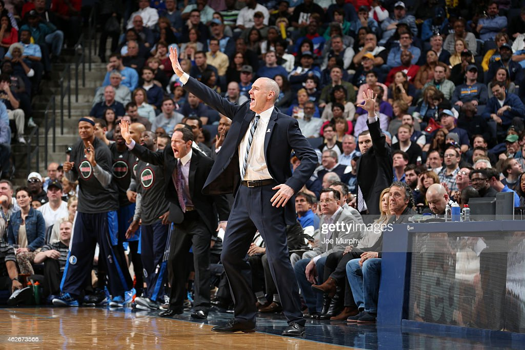 Rick Carlisle of the Dallas Mavericks reacts during the game against the Memphis Grizzlies on January 19, 2015 at the FedExForum in Memphis, Tennessee.