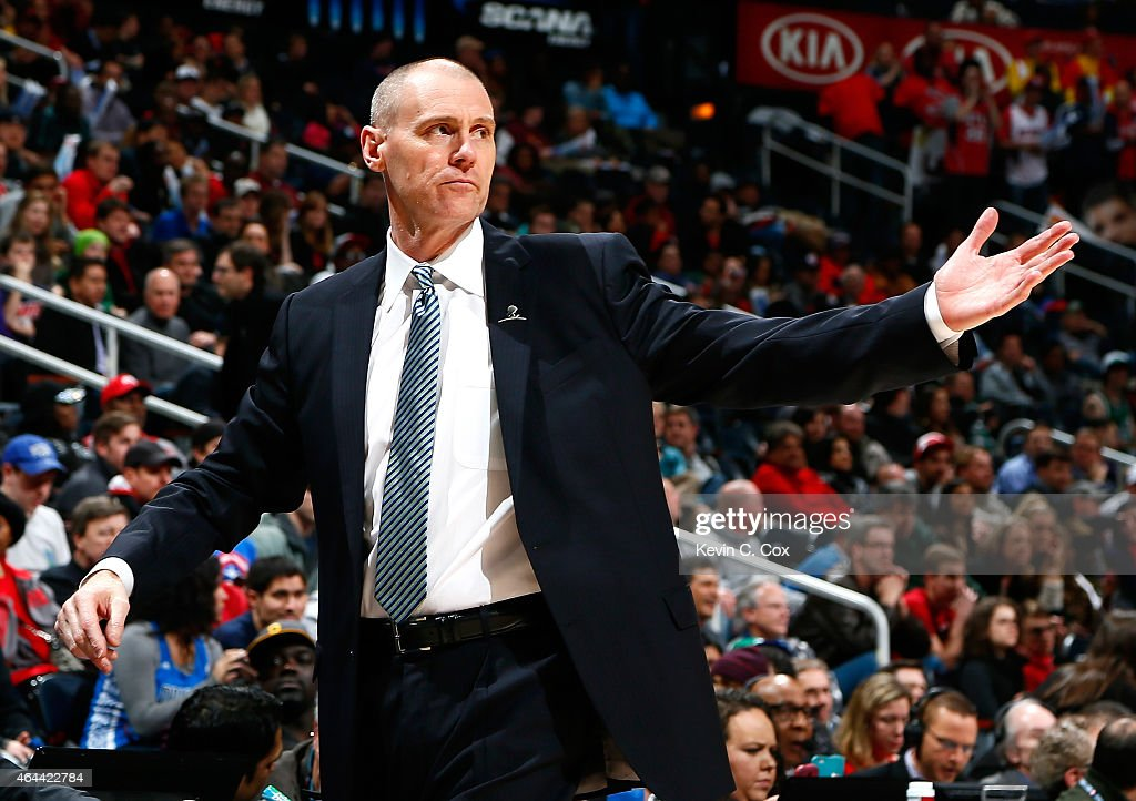 Rick Carlisle of the Dallas Mavericks reacts during the game against the Atlanta Hawks at Philips Arena on February 25, 2015 in Atlanta, Georgia.