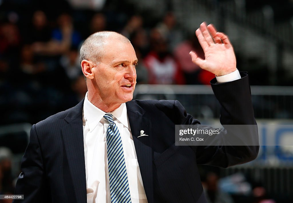 <a gi-track='captionPersonalityLinkClicked' href=/galleries/search?phrase=Rick+Carlisle&family=editorial&specificpeople=206971 ng-click='$event.stopPropagation()'>Rick Carlisle</a> of the Dallas Mavericks reacts during the game against the Atlanta Hawks at Philips Arena on February 25, 2015 in Atlanta, Georgia.