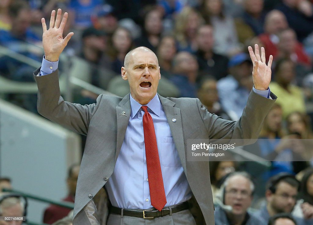 Rick Carlisle of the Dallas Mavericks reacts to a call as the Mavericks take on the Milwaukee Bucks in the first half at American Airlines Center on December 28, 2015 in Dallas, Texas.