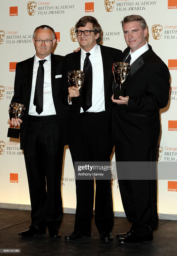 Rick Carter Robert Stromberg and Kim Sinclair pose with the award for Production Design for the film Avatar during the Orange British Academy Film...