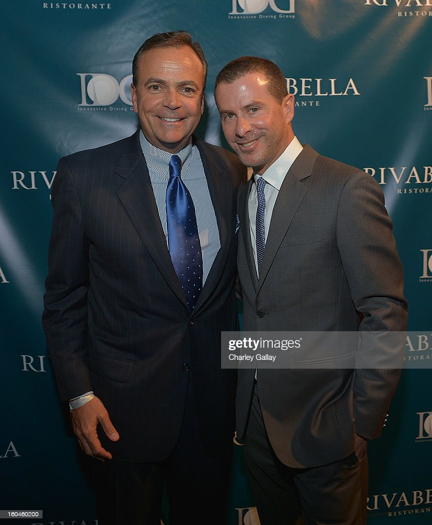 Rick Caruso (L) and partner of Innovative Dining Group Lee Maen attend the Grand Opening of RivaBella Ristorante on January 31, 2013 in West Hollywood, California.