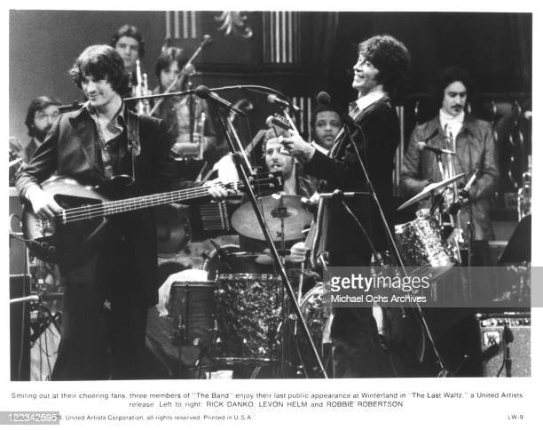 Rick Danko Levon Helm and Robbie Robertson of The Band perform at their farewll concert released on film as 'The Last Waltz' at Winterland Ballroom...