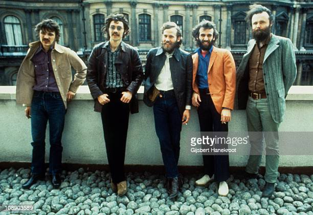 Rick Danko Robbie Robertson Levon Helm Richard Manuel and Garth Hudson of The Band pose for a group portrait in London in 1971