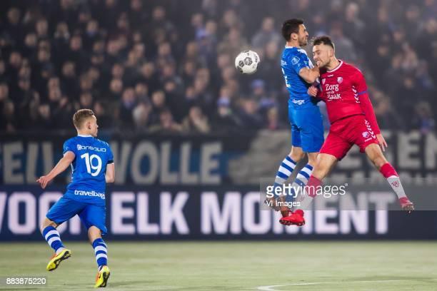 Rick Dekker of PEC Zwolle Bram van Polen of PEC Zwolle Sander van de Streek of FC Utrecht during the Dutch Eredivisie match between PEC Zwolle and FC...
