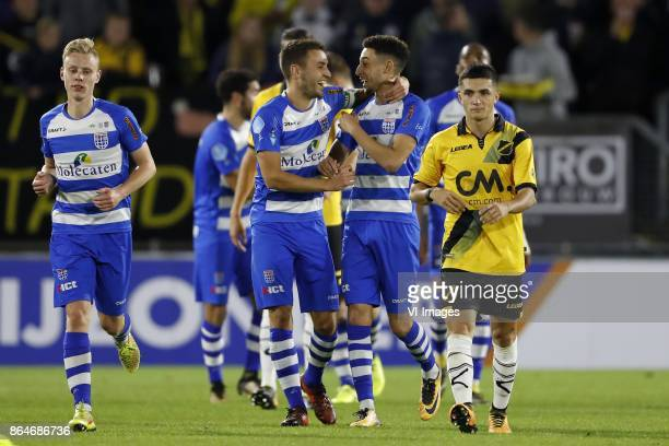 Rick Dekker of PEC Zwolle Bram van Polen of PEC Zwolle Younes Namli of PEC Zwolle Manu Garcia of NAC Breda during the Dutch Eredivisie match between...