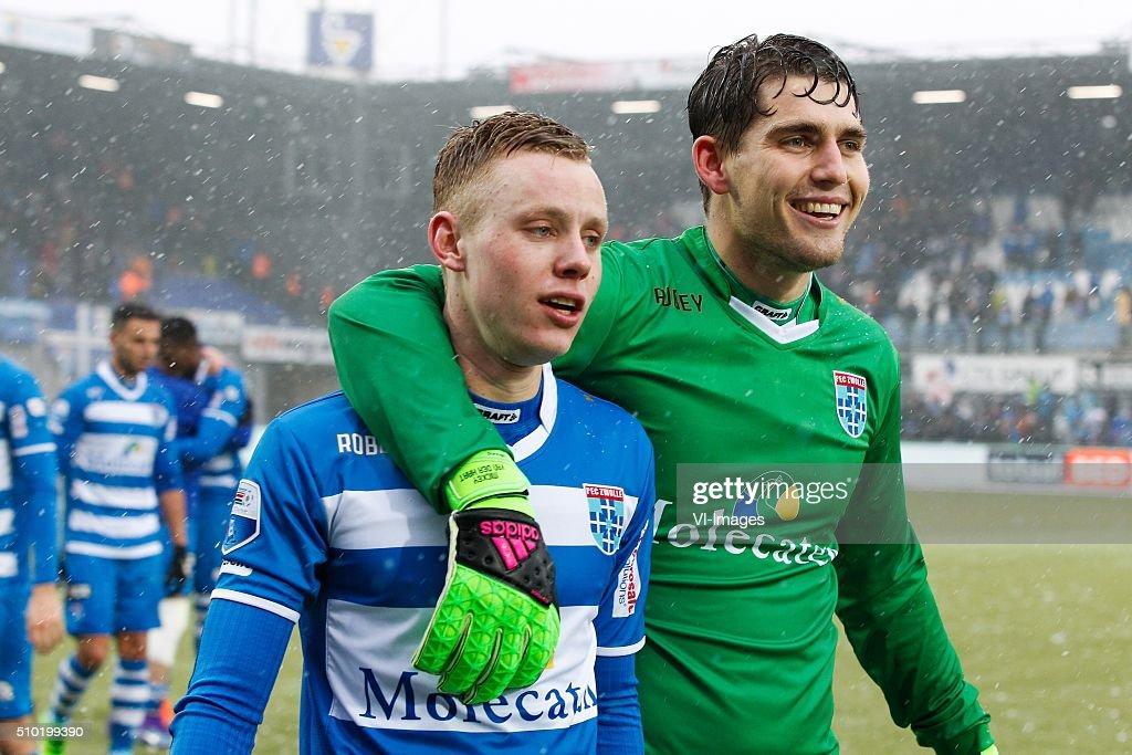Rick Dekker of PEC Zwolle, goalkeeper Mickey van der Hart of PEC Zwolle during the Dutch Eredivisie match between PEC Zwolle and Feyenoord Rotterdam at the IJsseldelta stadium on February 14, 2016 in Zwolle, The Netherlands