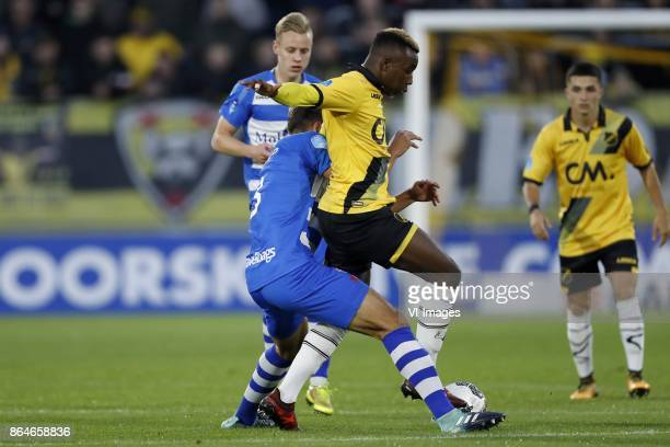 Rick Dekker of PEC Zwolle Nicolas Freire of PEC Zwolle Thierry Ambrose of NAC Breda Manu Garcia of NAC Breda during the Dutch Eredivisie match...