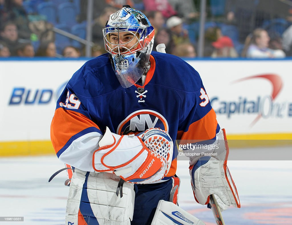 Rick DiPietro #39 of Team Blue looks on during a scrimmage match between players of the New York Islanders and Bridgeport Sound Tigers on January 16, 2013 at Nassau Veterans Memorial Coliseum in Uniondale, New York.