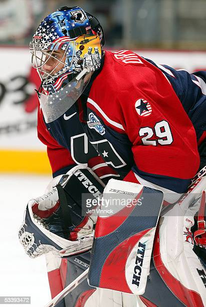 Rick DiPietro of Team USA tends goal against Team Slovakia in the World Cup of Hockey on September 3 2004 at the Xcel Center in St Paul Minnesota USA...