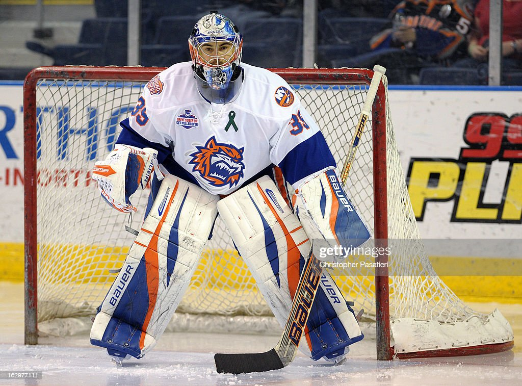 Rick DiPietro #39 of the Bridgeport Sound Tigers looks on as he tends goal prior to an American Hockey League game against the Adirondack Phantoms on March 2, 2013 at the Webster Bank Arena at Harbor Yard in Bridgeport, Connecticut.