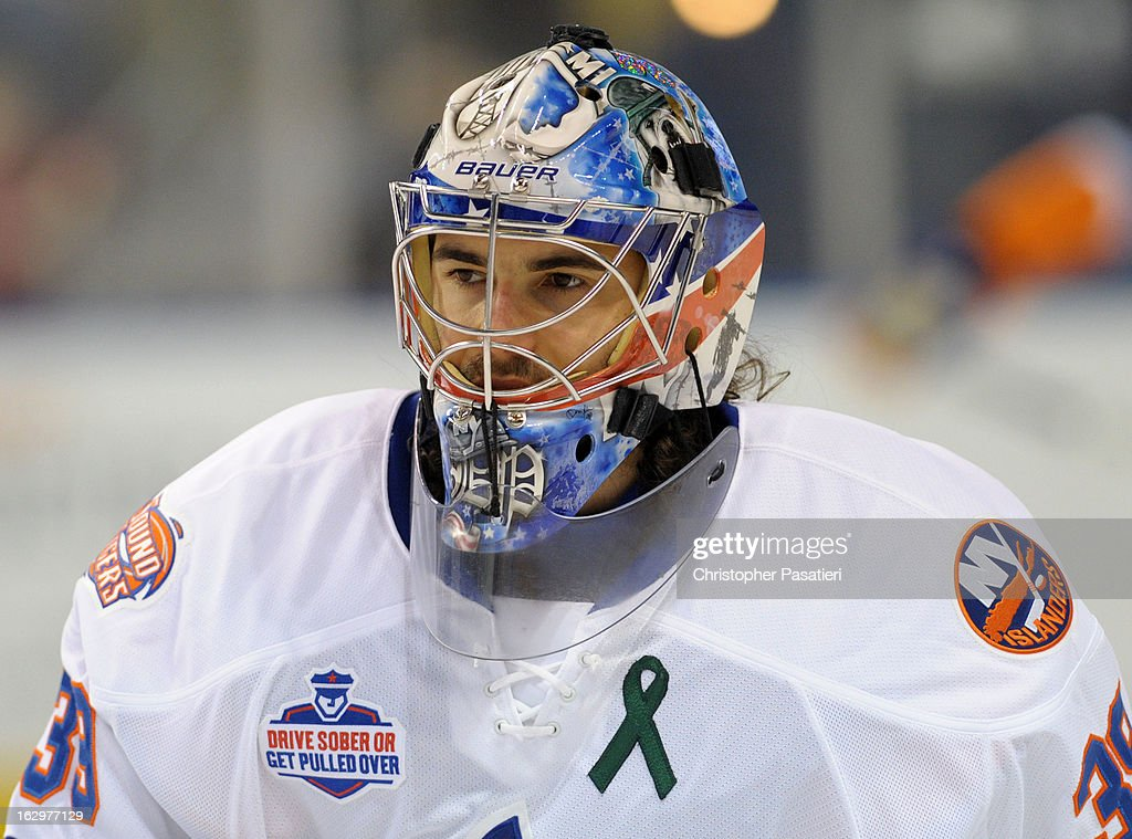 Rick DiPietro #39 of the Bridgeport Sound Tigers looks on prior to an American Hockey League game against the Adirondack Phantoms on March 2, 2013 at the Webster Bank Arena at Harbor Yard in Bridgeport, Connecticut.