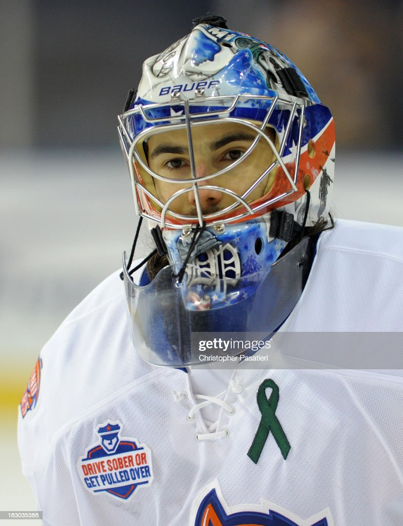 Rick DiPietro #39 of the Bridgeport Sound Tigers looks on prior to an American Hockey League game against the Connecticut Whale on March 3, 2013 at the Webster Bank Arena at Harbor Yard in Bridgeport, Connecticut.