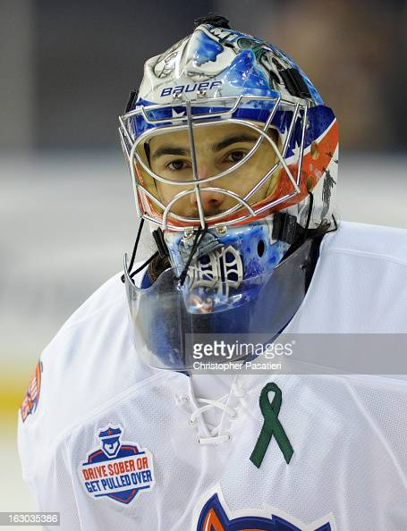 Rick DiPietro of the Bridgeport Sound Tigers looks on prior to an American Hockey League game against the Connecticut Whale on March 3 2013 at the...