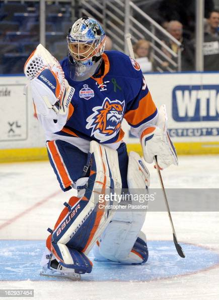 Rick DiPietro of the Bridgeport Sound Tigers makes a save prior to the game against the Connecticut Whale on March 1 2013 at the XL Center in...