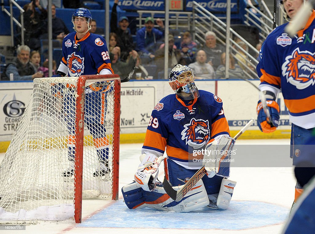 Rick DiPietro #39 of the Bridgeport Sound Tigers reacts after allowing one of five goals during the first period of an American Hockey League game against the Connecticut Whale on March 1, 2013 at the XL Center in Hartford, Connecticut.