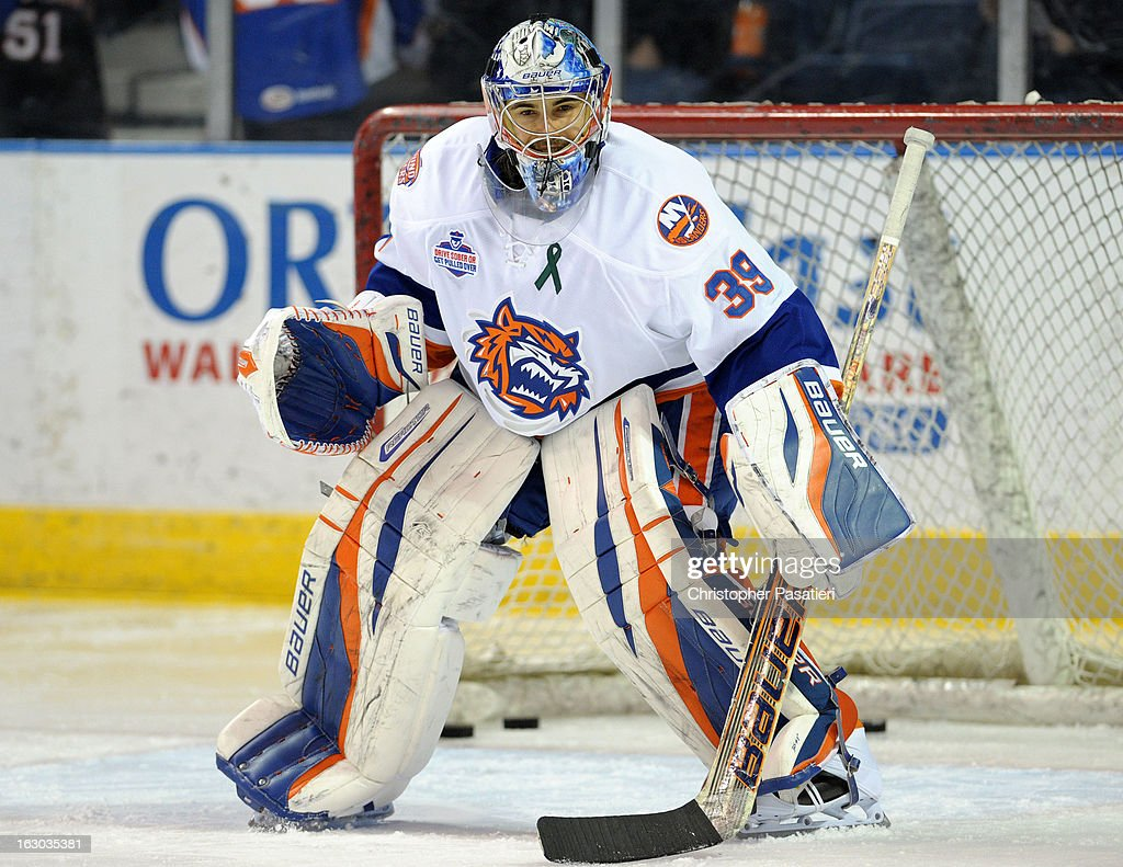Rick DiPietro #39 of the Bridgeport Sound Tigers tends goal prior to an American Hockey League game against the Connecticut Whale on March 3, 2013 at the Webster Bank Arena at Harbor Yard in Bridgeport, Connecticut.