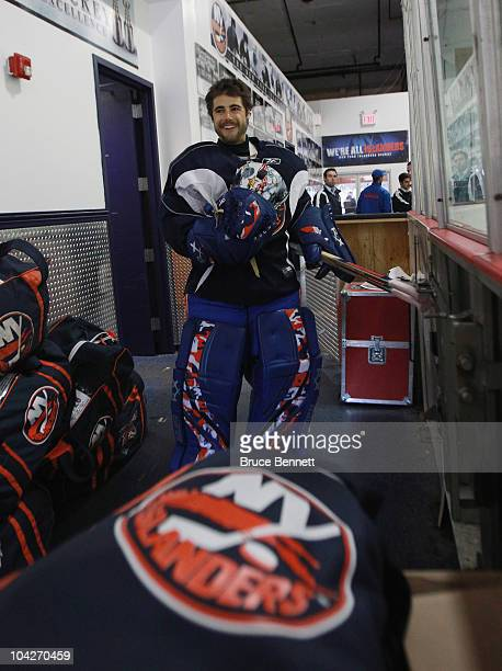 Rick DiPietro of the New York Islanders heads out for a training camp session at Iceworks on September 19 2010 in Syosset New York