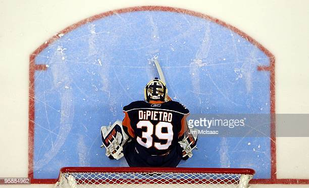 Rick DiPietro of the New York Islanders prepares to play against the New Jersey Devils on January 18 2010 at Nassau Coliseum in Uniondale New York...