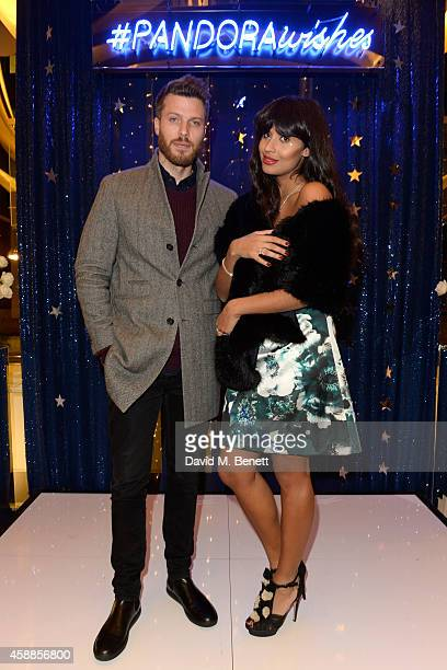 Rick Edwards and Jameela Jamil attend the #PandoraWishes campaign launch event Pandora Marble Arch flagship store London on November 12 2014 in...