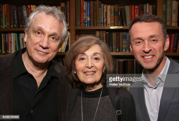 Rick Elice Nancy Ford and Andrew Lippa attend the Dramatists Guild Fund Salon With Rick Elice at the Cornell Club on March 6 2017 in New York City