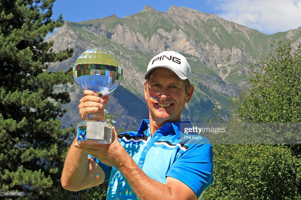 Rick Gibson of Canada poses with the trophy after the final round of the Bad Ragaz PGA Seniors Open played at Golf Club Bad Ragaz on July 6, 2014 in Bad Ragaz, Switzerland.