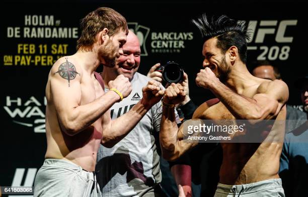 Rick Glenn and Phillipe Nover faces off after weighing in during the UFC 208 weighin inside Kings Theater on February 10 2017 in the Brooklyn borough...