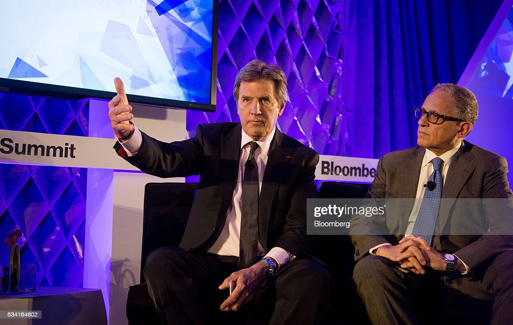 Rick Goings, chairman and chief executive officer of Tupperware Brands Corp., left, speaks as Fred Hochberg, chairman and president of the Export-Import Bank of U.S., listens during the Bloomberg Breakaway Summit in New York, U.S., on Wednesday, May 25, 2016. At the inaugural event, participants will hear from corporate leaders investors and government officials on the most crucial issues that impact their ability to find new markets, win over investors, recruit top talent, protect data, and more. Photographer: Michael Nagle/Bloomberg via Getty Images