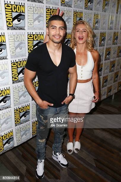 Rick Gonzalez and Emily Bett Rickards arrive at the ComicCon International 2017 on July 22 2017 in San Diego California