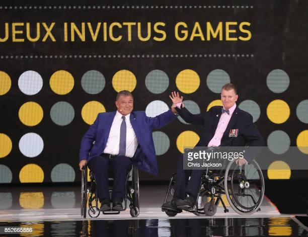 Rick Hansen and Captain Trevor Greene speak during the opening ceremony of the 2017 Invictus Games at Air Canada Centre on September 23 2017 in...