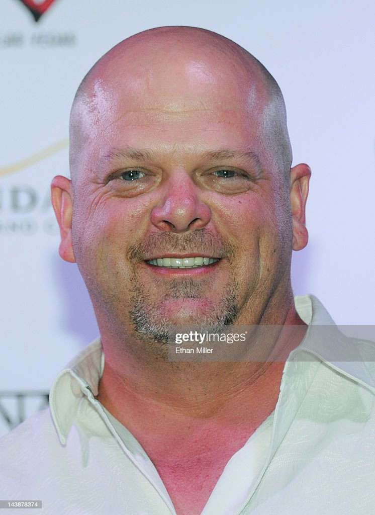 <a gi-track='captionPersonalityLinkClicked' href=/galleries/search?phrase=Rick+Harrison&family=editorial&specificpeople=6584951 ng-click='$event.stopPropagation()'>Rick Harrison</a> from History's 'Pawn Stars' television series appears at the House of Blues inside the Mandalay Bay Resort & Casino following a mud ceremony for recording artist Carlos Santana May 4, 2012 in Las Vegas, Nevada. The ceremony involved combining dirt from the town of Clarksdale in the Mississippi Delta with dirt from Bethel, New York from the site of the Woodstock Festival and mud from Santana's hometown of Autlan de Navarro, Jalisco in Mexico to symbolize his two-year residency at the music venue.