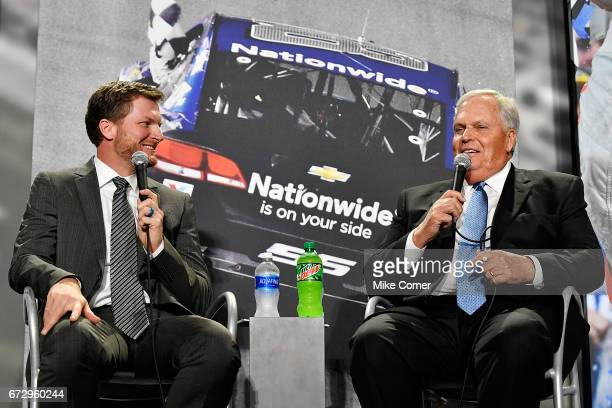 Rick Hendrick and Dale Earnhardt Jr answer questions from the media during a press conference to announce his retirement from NASCAR after the 2017...