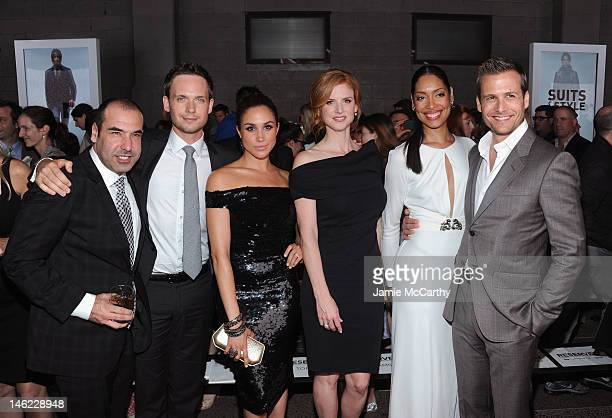 Rick Hoffman Patrick J Adams Meghan Markle Sarah Rafferty Gina Torres and Gabriel Macht of Suits attend USA Network and Mr Portercom Present 'A Suits...