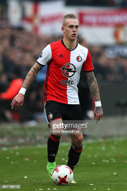 Rick Karsdorp of Feyenoord in action during the Dutch Eredivisie match between Feyenoord and PSV Eindhoven at De Kuip on February 26 2017 in...