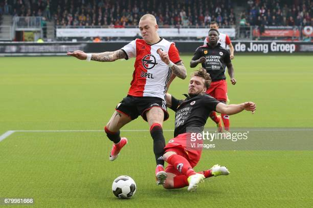 Rick Karsdorp of Feyenoord Milan Massop of Excelsiorduring the Dutch Eredivisie match between sbv Excelsior Rotterdam and Feyenoord Rotterdam at Van...